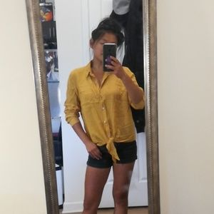Mustard yellow button down blouse